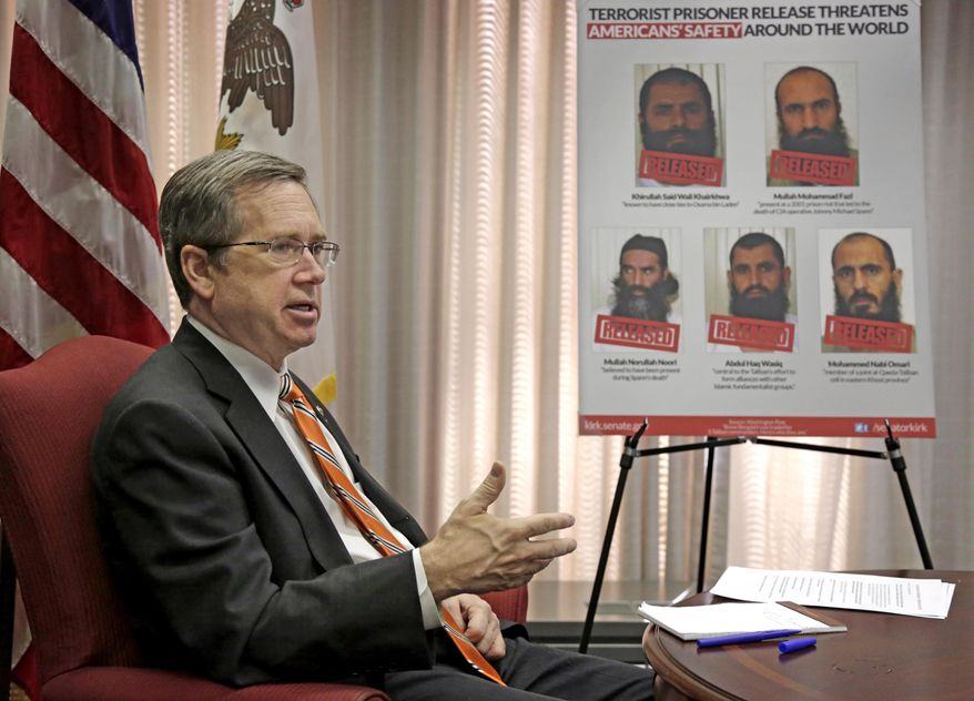 ** FILE ** U.S. Sen. Mark Kirk D-Ill. speaks during an interview in his office Monday, June 9, 2014, in Chicago. Kirk spoke of the recent investigation into wait times and the quality of care at Veterans Administration medical facilities and accused the VA of corruption and withholding information. (AP Photo/M. Spencer Green)