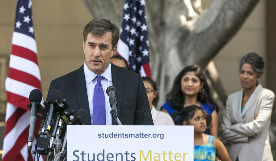 Silicon Valley entrepreneur and founder of Students Matter David Welch makes comments on the Vergara v. California lawsuit verdict in Los Angeles, Tuesday, June 10, 2014. A judge struck down tenure and other job protections for California's public school teachers as unconstitutional Tuesday, saying such laws harm students, especially poor and minority ones, by saddling them with bad teachers. In a landmark decision that could influence the gathering debate over tenure across the country, Los Angeles County Superior Court Judge Rolf Treu cited the historic case of Brown v. Board of Education in ruling that students have a fundamental right to equal education. (AP Photo/Damian Dovarganes)
