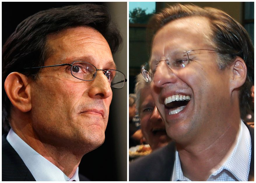 In this combination of Associated Press photos, House Majority Leader Eric Cantor, R-Va., left, and Dave Brat, right, react after the polls close Tuesday, June 10, 2014, in Richmond, Va. Brat defeated Cantor in the Republican primary. (AP Photo)