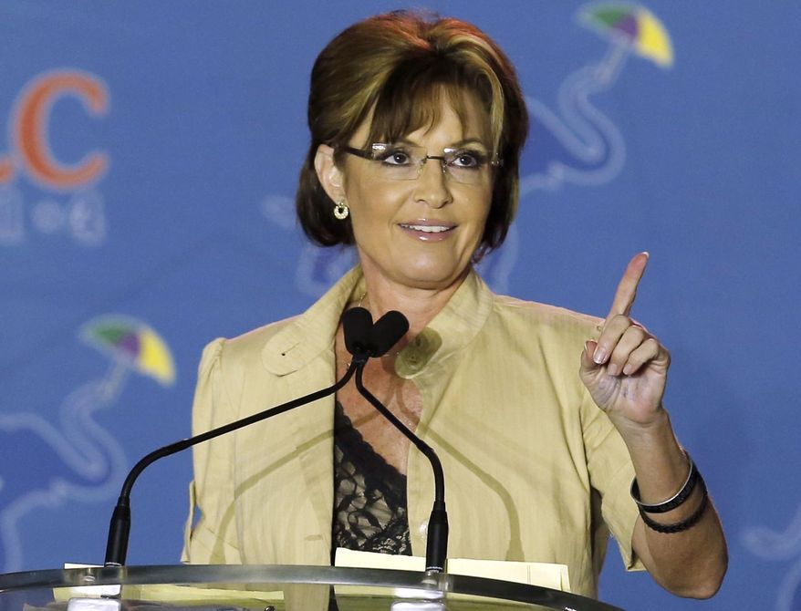FILE - This May 29, 2014 file photo shows Sarah Palin speaking in New Orleans, La. In an interview, former Secretary of State Hillary Rodham Clinton revealed that shortly after Palin was nominated as the 2008 Republican vice presidential candidate, the Obama campaign proposed that Clinton go on the attack against her. Clinton said she refused. (AP Photo/Bill Haber, File)
