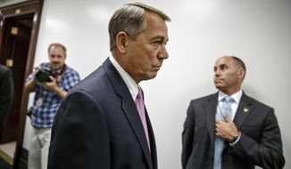 "House Speaker John Boehner of Ohio, leaves a news conference on Capitol Hill in Washington, Tuesday, June 10, 2014, following a Republican Conference meeting.  Commenting on  problems with the troubled health care system in the Department of Veterans Affairs, Boehner said, ""We have a systemic failure of an entire department of our government.""  (AP Photo/J. Scott Applewhite)"