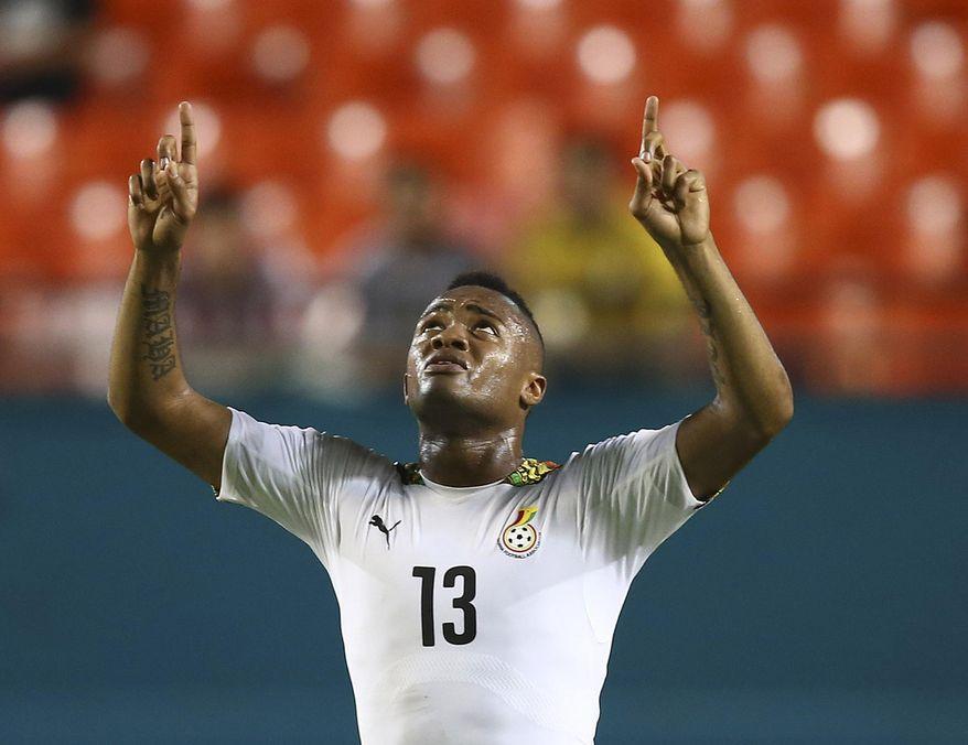 Ghana's Jordan Ayew celebrates after an international  friendly soccer match in Miami Gardens, Fla., Monday, June 9, 2014 against South Korea. Ghana won 4-0. ( AP Photo/J Pat Carter)