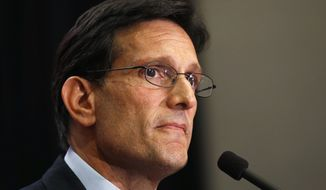 House Majority Leader Eric Cantor, R-Va., delivers a concession speech in Richmond, Va., Tuesday, June 10, 2014. Cantor lost in the GOP primary to tea party candidate Dave Brat. (AP Photo/Steve Helber)