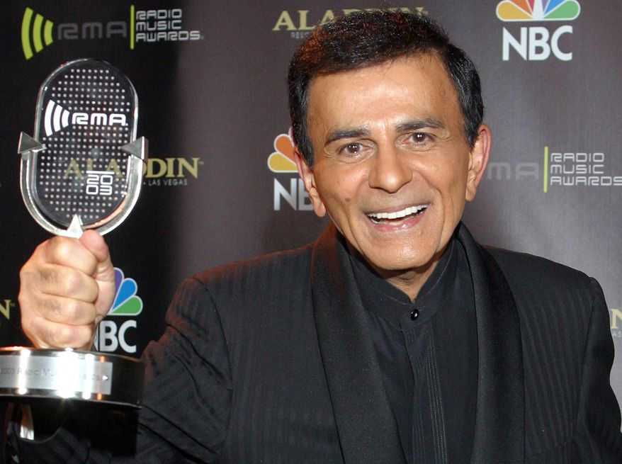 """** FILE ** In this Oct. 27, 2003, file photo, Casey Kasem poses for photographers after receiving the Radio Icon award during """"The 2003 Radio Music Awards"""" in Las Vegas. A Los Angeles judge on Wednesday, June 11, 2014, reversed a previous ruling and said that doctors should not restore food or fluids to Kasem, who is in the final stages of life after battling dementia. (AP Photo/Eric Jamison, File)"""
