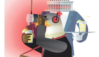 Illustration on efforts to continue NSA surveillance by Linas Garsys/The Washington Times