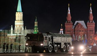 Russian army Iskander missile launcher it's way down a road during a rehearsal for the Victory Day military parade. U.S. officials said the main INF violation has been multiple tests since 2008 of a new cruise missile identified as the R-500, which has a range of about 1,243 miles. (Associated Press)