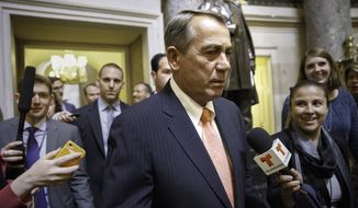 """House Speaker John Boehner of Ohio is pursued by reporters as he walks from his office through the Capitol in Washington, Wednesday, June 11, 2014, the morning after the stunning political defeat of House Majority Leader Eric Cantor of Va., by a tea party challenger in the Virginia primary. In a statement, Speaker John Boehner praised Cantor as """"a good friend and a great leader, and someone I've come to rely upon on a daily basis.""""   (AP Photo/J. Scott Applewhite)"""