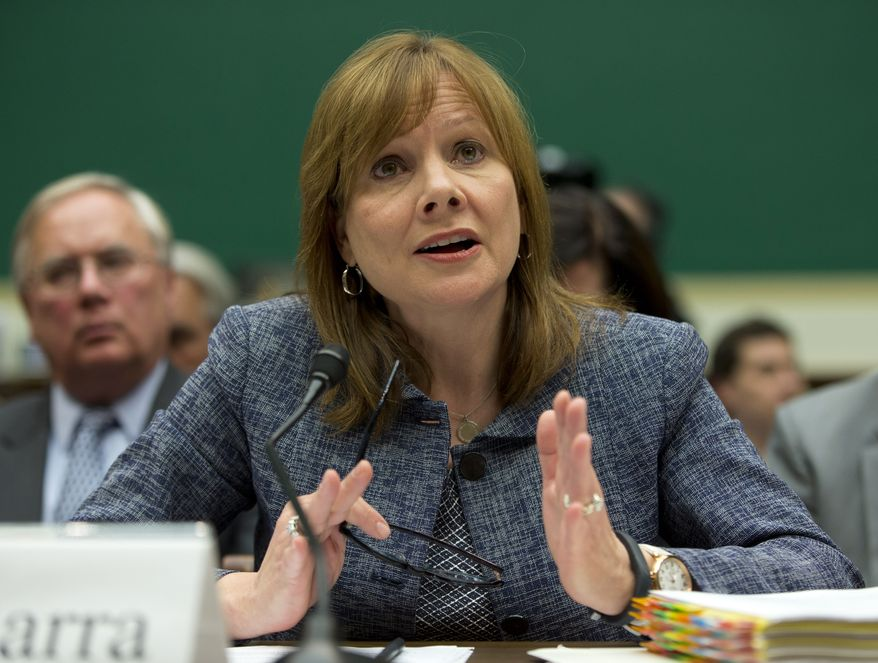 FILE - In this April 1, 2014 file photo, General Motors CEO Mary Barra testifies before the House Energy and Commerce subcommittee on Oversight and Investigation on Capitol Hill in Washington. Barra and former U.S. Attorney Anton Valukas, who last week issued a report on GM's delayed recall of 2.6 million small cars equipped with defective ignition switches, will appear before the House Energy and Commerce Committee's oversight subcommittee on June 18, 2014, the panel announced Wednesday. (AP Photo/Evan Vucci, File)