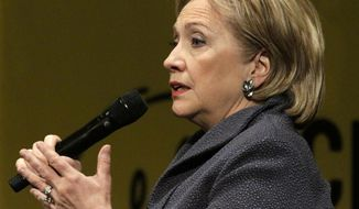 Former Secretary of State Hillary Rodham Clinton answers a question from the crowd during an appearance to promote her new book, Wednesday, June 11, 2014, in Chicago. (AP Photo/Stacy Thacker)