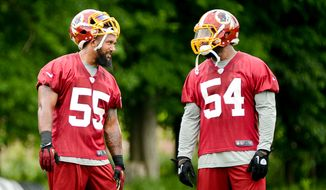 Washington Redskins linebacker Adam Hayward (55) talks with line backer Akeem Jordan (54), right, during organized team activities at Redskins Park, Ashburn, Va., Wednesday, June 11, 2014. (Andrew Harnik/The Washington Times)
