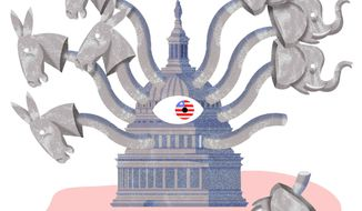 Illustration on the reasons behind Eric Cantor's defeat by Alexander Hunter/ The Washington Times
