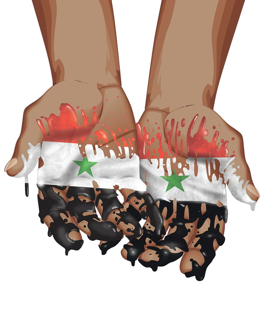 Illustration on Obama's role in the Syria crisis by Linas Garsys/The Washington Times