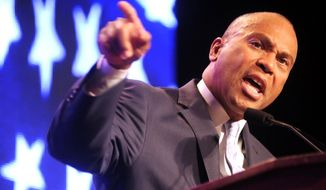 Massachusetts Gov. Deval Patrick speaks at the state Democratic convention, held at the DCU Center in Worcester, Mass., Friday, June 13, 2014. (AP Photo/Worcester Telegram & Gazette, Steve Lanava)