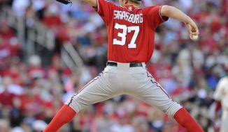 Washington Nationals' starting pitcher Stephen Strasburg throws against the St. Louis Cardinals in the first inning in a baseball game, Saturday, June 14, 2014, at Busch Stadium in St. Louis. (AP Photo/Bill Boyce)