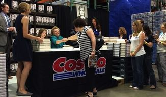 Reporters got an unexpected photo-op on Saturday when Supreme Court Justice Sonia Sotomayor bumped into Hillary Clinton at a Virginia Costco. (Maggie Haberman)