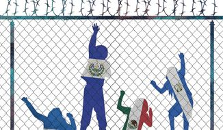 Illustration on the new influx of children from Central America by Linas Garsys/The Washington Times