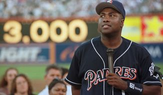 San Diego Padres' Tony Gwynn speaks to a sold-out crowd during a ceremony before the game against the Florida Marlins on Friday, Aug. 13, 1999, in San Diego. The ceremony was held to give San Diego fans a chance to celebrate Gwynn's 3,000th career hit. (AP Photo/Kent C. Horner)