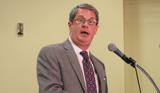 U.S. Sen. David Vitter, a Republican running for governor in the 2015 election, speaks to the Press Club of Baton Rouge on Monday, June 16, 2014, in Baton Rouge, La. Vitter said he would consider supporting an expansion of Louisiana's Medicaid program and needed to do more research on the Common Core education standards before taking a position on them. (AP Photo/Melinda Deslatte)