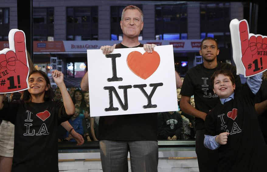 "** FILE ** In this photo provided by the American Broadcasting Co., New York Mayor Bill de Blasio, center, appears on the Jimmy Kimmel Live show, Monday, June 16, 2014, in New York. The mayor of New York City sang ""I Love L.A"" on ""Jimmy Kimmel Live"" Monday night to settle a Stanley Cup wager with Los Angeles Mayor Eric Garcetti.  (AP Photo/Heidi Gutman, ABC)"