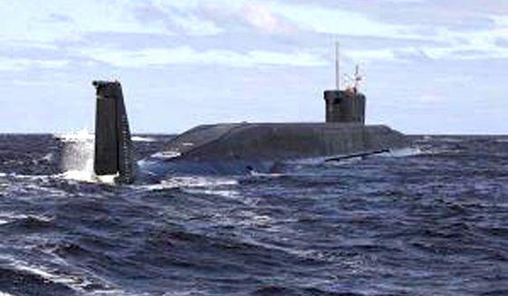 The Russian nuclear submarine Yury Dolgoruky. (Associated Press) ** FILE **