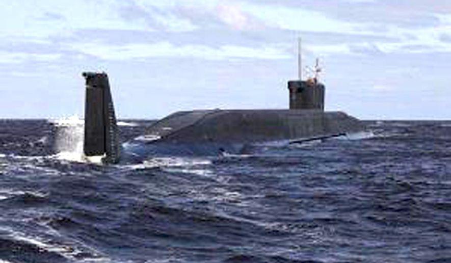 ** FILE ** The Russian nuclear submarine Yury Dolgoruky. (Associated Press)
