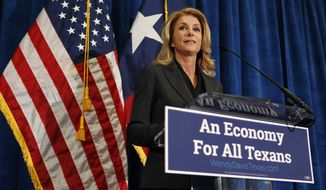 Democratic gubernatorial nominee Wendy Davis speaks at the Omni Hotel in Fort Worth, Texas, Tuesday, June 17, 2014. Davis says her vision for Texas' economy includes major investments in education, roads and water — but won't say how much they cost. (AP Photo/The Fort Worth Star-Telegram, Paul Moseley)
