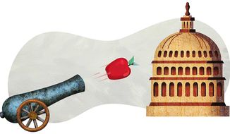 Cannon Shot on Government Waste Illustration by Greg Groesch/The Washington Times