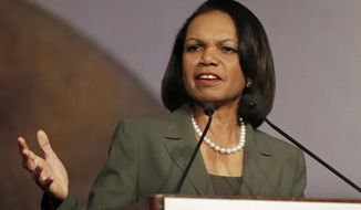 ** FILE ** This March 15, 2014, file photo shows former Secretary of State Condoleezza Rice speaking in Burlingame, Calif. (AP Photo/Ben Margot, File)