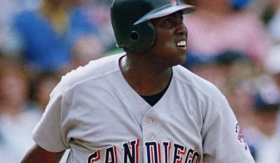 San Diego Padres Tony Gwynn watches his double in the fifth inning against the Chicago Cubs, Tuesday, July 27, 1993, Chicago, Ill. Gwynn had five hits for the day and drove in three runs to help the Padres defeat the Cubs 8-0. Gwynn also surpassed former Padres player Dave Winfields club record of 626 RBI. (AP Photo/John Swart)
