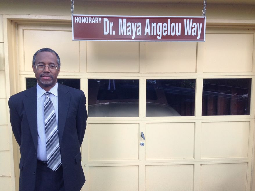 Dr. Ben Carson, on a visit to the home of Maya Angelou on May 9, 2014.