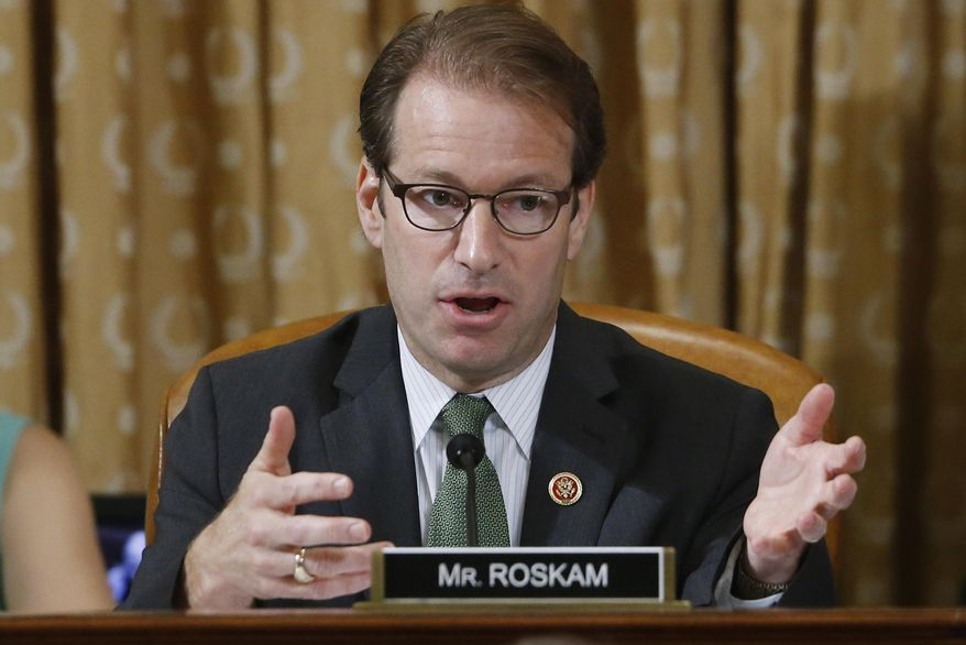 Rep. Peter Roskam, R-Ill., is seen at a hearing of the House Ways and Means Committee on Capitol Hill in Washington in this May 17, 2013, file photo. (AP Photo/Charles Dharapak, File)