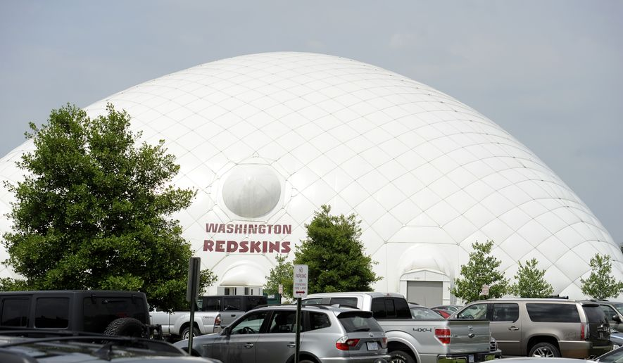 The name of the Washington Redskins is displayed on their practice dome at their training facility at Redskins Park during NFL football minicamp, Wednesday, June 18, 2014, in Ashburn, Va. (AP Photo/Nick Wass)  **FILE**