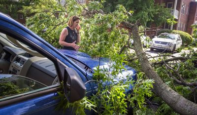 Gina Cavallaro of Alexandria, Va., talks with an insurance agent after a large tree branch damaged her car during last night's storm in the Belle View neighborhood of Alexandria, Va., Thursday, June 19, 2014. The violent midnight storm damaged homes, cars and left thousands without power. (Photo Rod Lamkey Jr.)