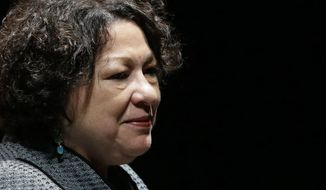 ** FILE ** This Sept. 19, 2013, file photo shows Supreme Court Justice Sonia Sotomayor in Newark, Del. (AP Photo/Patrick Semansky, File)