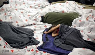 AP10ThingsToSee- Detainees sleep in a holding cell at a U.S. Customs and Border Protection processing facility, Wednesday, June 18, 2014, in Brownsville,Texas. CPB provided media tours Wednesday of two locations in Brownsville and Nogales, Ariz., that have been central to processing the more than 47,000 unaccompanied children who have entered the country illegally since Oct. 1.  (AP Photo/Eric Gay, Pool)