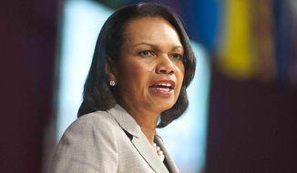 Former U.S. Secretary of State and National Security Adviser Condoleeza Rice speaks at Norwich University in Northfield, Vt., on Thursday, June 19, 2014. (AP Photo/Burlington Free Press, Glenn Russell) ** FILE **
