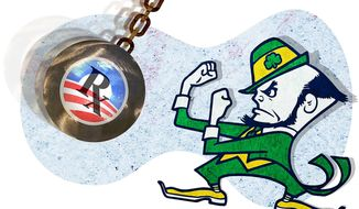 Notre Dame Fighting Obamacare Illustration by Greg Groesch/The Washington Times