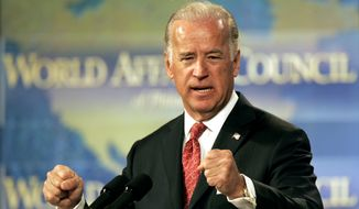 """In a 2008 op-ed, then-Sen. Joe Biden (shown delivering a 2006 speech in Philadelphia) warned """"a precipitous withdrawal"""" from Iraq could """"lead to a national meltdown"""" marked by sectarian strife. (AP Photo/Matt Rourke)"""
