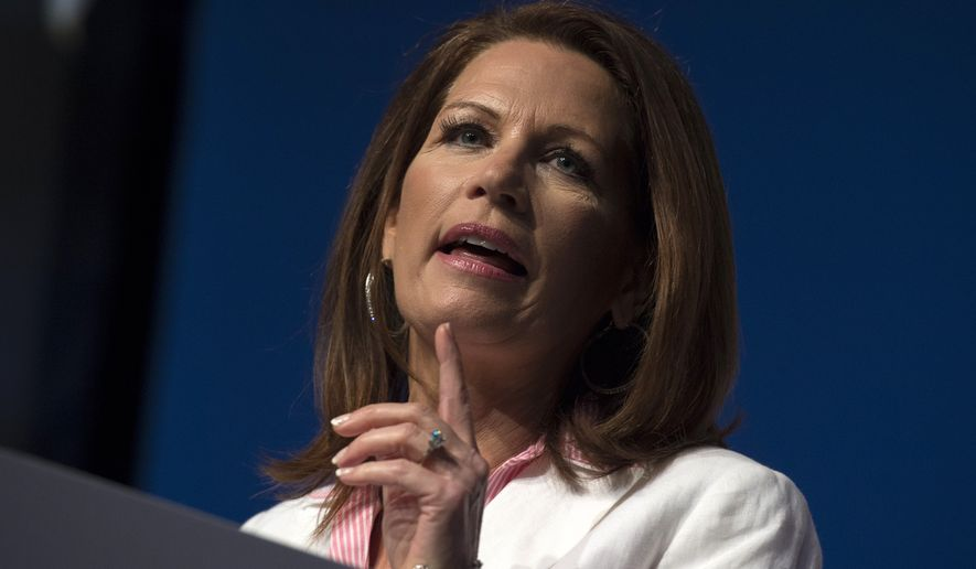 Rep. Michele Bachmann, R-Minn. speaks at Faith and Freedom Coalition's Road to Majority event in Washington, Friday, June 20, 2014. Organizers said more than 1,000 evangelical leaders were attending the conference, designed to mobilize religious conservative voters ahead of the upcoming midterm elections and the 2016 presidential contest. While polls suggest that social conservatives are losing their fight against gay marriage, Republican officials across the political spectrum concede that evangelical Christian voters continue to play a critical role in Republican politics.  (AP Photo/Molly Riley)