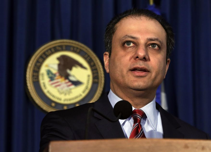 U.S. Attorney Preet Bharara issued a warning to law firms that they could be targets of hacking because they hold information that is valuable to criminals. (Associated Press/File)