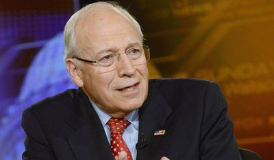 "Former Vice President Dick Cheney speaks on ""Fox News Sunday"" on Sunday, June 16, 2013. (AP Photo/""Fox News Sunday,"" Fred Watkins)"