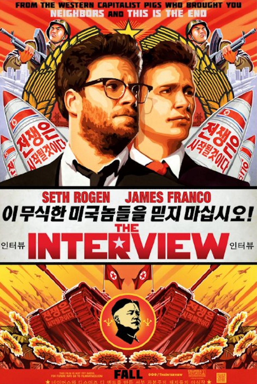 """A spokesman for North Korean leader Kim Jong-un said Friday that the Hollywood comedy """"The Interview,"""" with Seth Rogen and James Franco that shows the autocrat's fake assassination, is indicative of American society's """"desperation."""" Kim appears as a character in the movie, played by actor Randall Park. (CTMG, Inc.)"""