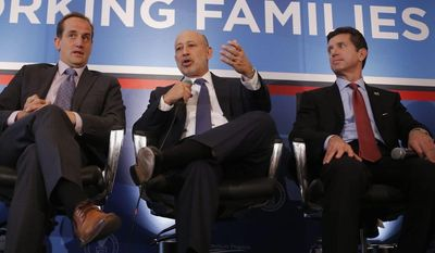 From left, Randy Garutti, chief executive officer of Shake Shack, Lloyd Blankfein, chairman and chief executive officer of Goldman Sachs, and Alex Gorsky, chief executive officer of Johnson and Johnson, participate in a session entitled: Talent Attraction and Retention at The White House Summit on Working Families. (Associated Press)