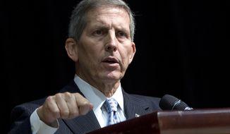 ** FILE ** This June 18, 2014, file photo shows acting Veterans Affairs Secretary Sloan Gibson speaking in Washington. (AP Photo/Jose Luis Magana, File)
