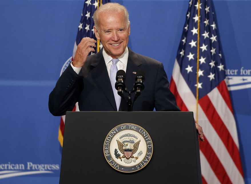 Vice President Joe Biden speaks at The White House Summit on Working Families, Monday, June 23, 2014, in Washington. The gathering, organized by the White House, Labor Department, and the Center for American Progress, highlights the challenges and offers solutions faced by working families in America. (AP Photo/Charles Dharapak)