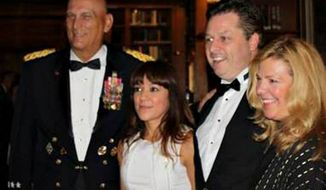 Gen. Raymond T. Odierno, Sgt. Mary Herrera, tenor Anthony Kearns, and Kirsten Fedewa of Kirsten Fedewa & Associates (from left) pose during the 239th United States Army Birthday Gala in New York on June 12. (Courtesy of Kirsten Fedewa & Associates LLC/Mikki L. Sprenkle, photographer of the Chief of Staff, U.S. Army)