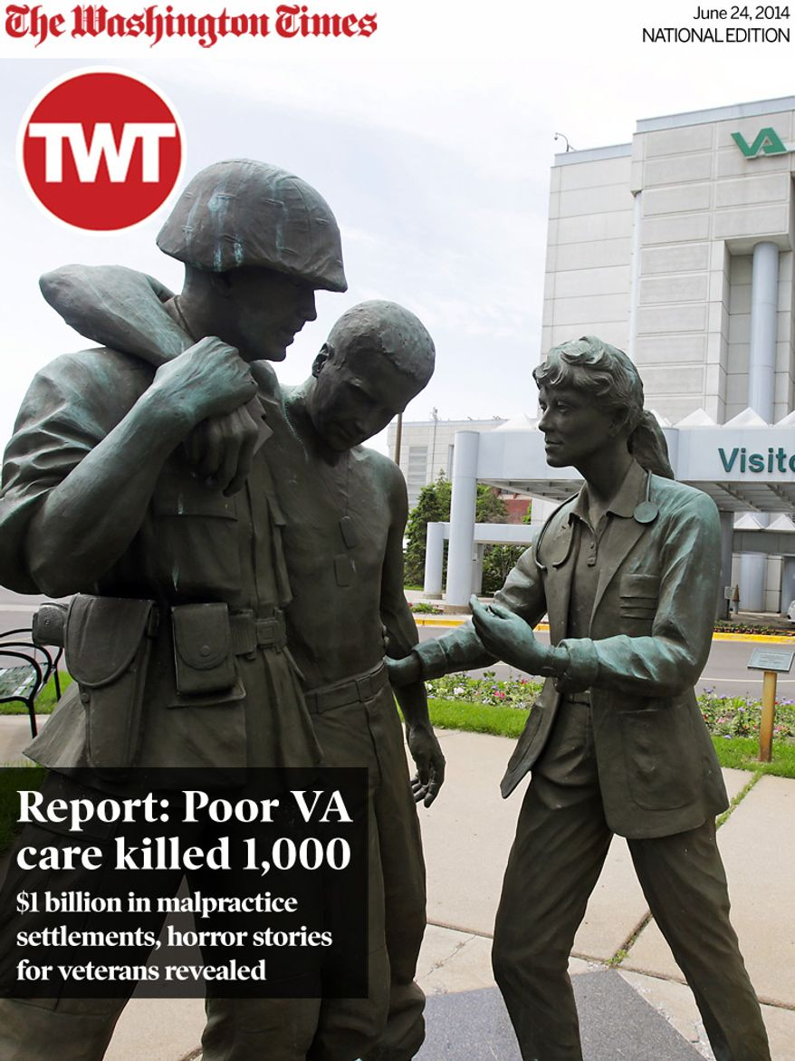 National Edition News cover for June 24, 2014 - Report: Poor VA care killed 1,000: Three statues portraying a wounded soldier being helped, stand on the grounds of the Minneapolis VA Hospital, Monday, June 9, 2014. An audit of 731 VA hospitals and clinics found that a 14-day goal for seeing first-time patients was unattainable given increasing demand for health care. The VA said Monday it was abandoning the scheduling goal. (AP Photo/Jim Mone)