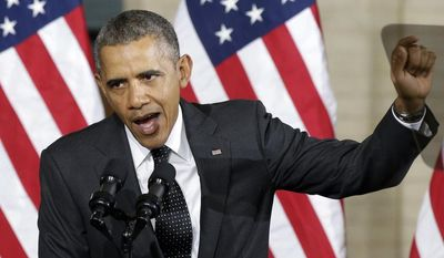 """President Barack Obama stresses a point while speaking at the Union Depot in St. Paul, Minn., Wednesday, Feb. 26, 2014, where he announced a new competition encouraging investments for job creation and infrastructure as part of his """"Year of Action."""" (AP Photo/Jim Mone)"""