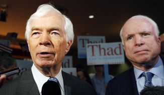 Sen. Thad Cochran of Mississippi and Sen. John McCain of Arizona at a rally. (AP Photo/Rogelio V. Solis)