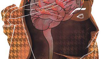 Illustration on the dangerous jihadist mind by Linas Garsys/The Washington Times